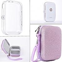 SAIKA Doppelter Schutz Tasche Set für HP Sprocket Fotodrucker Notebook Drucker, Glitter Pink HP Ritzel Eva Hard Case und PVC Crystal Case, Kombinieren Verwendung.