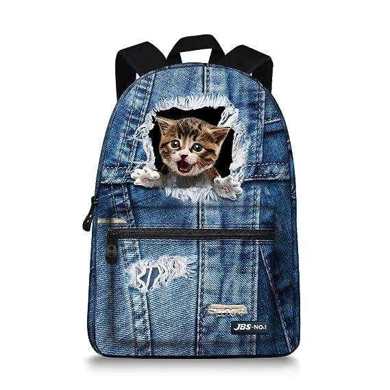 Husky JBS-NO.1 Cute Cats Backpack for Teen Girls Boys,Canvas BookBags for School