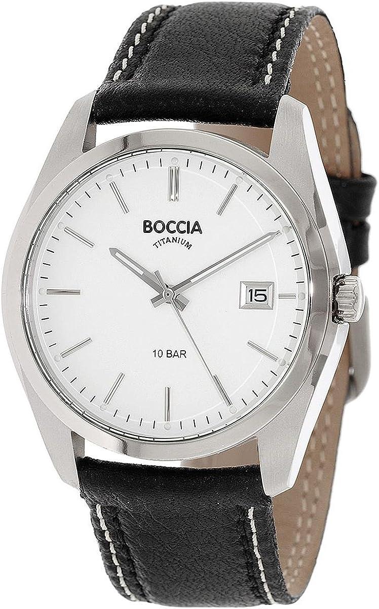 Boccia Reloj Digital para Hombre de Cuarzo con Correa en Cuero 3608-01