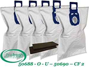 ULTRA FRESH 5 + 2 Pack of Replacement Kenmore Type O & U Cloth Bags and 2 CF 2 Filters. Also compatible with Miele Type Z and Panasonic U-2