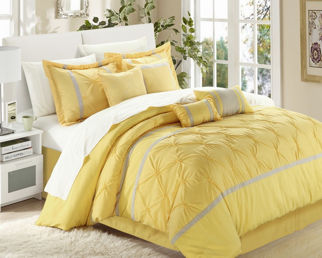 Chic Home Vermont 8-Piece Comforter Set, Queen, Yellow/Grey