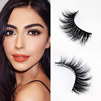 15e320e27ee Amazon.com : CGlashes Instant Eye Lift Effect 3D Mink False Eyelashes  Hand-made Reusable 1 Pair Package (V-3D08) : Beauty
