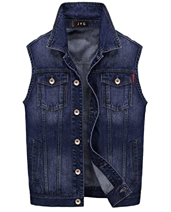 JYG Men's Denim Vest Slim Fit Sleeveless Jean Jacket Tops at ...
