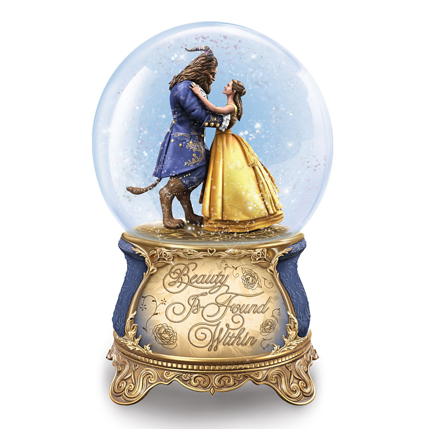 Bradford Exchange The Disney Beauty and the Beast Dance in a Musical Glitter Globe