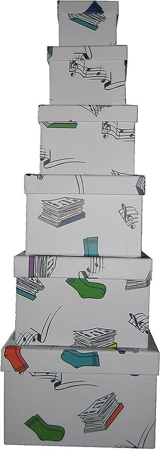 Vilys House Cajas cartón Decoradas con Dibujos Set de 6 tamaños Cuadrados Distintos (Mis Cosas): Amazon.es: Hogar