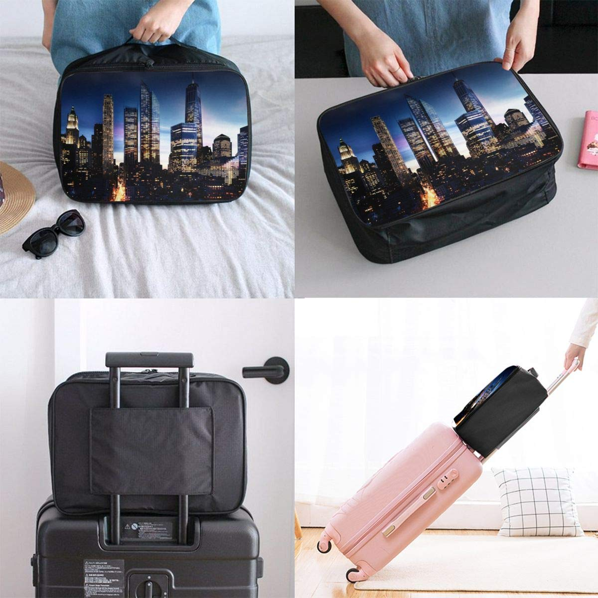 Travel Luggage Duffle Bag Lightweight Portable Handbag City Pattern Large Capacity Waterproof Foldable Storage Tote