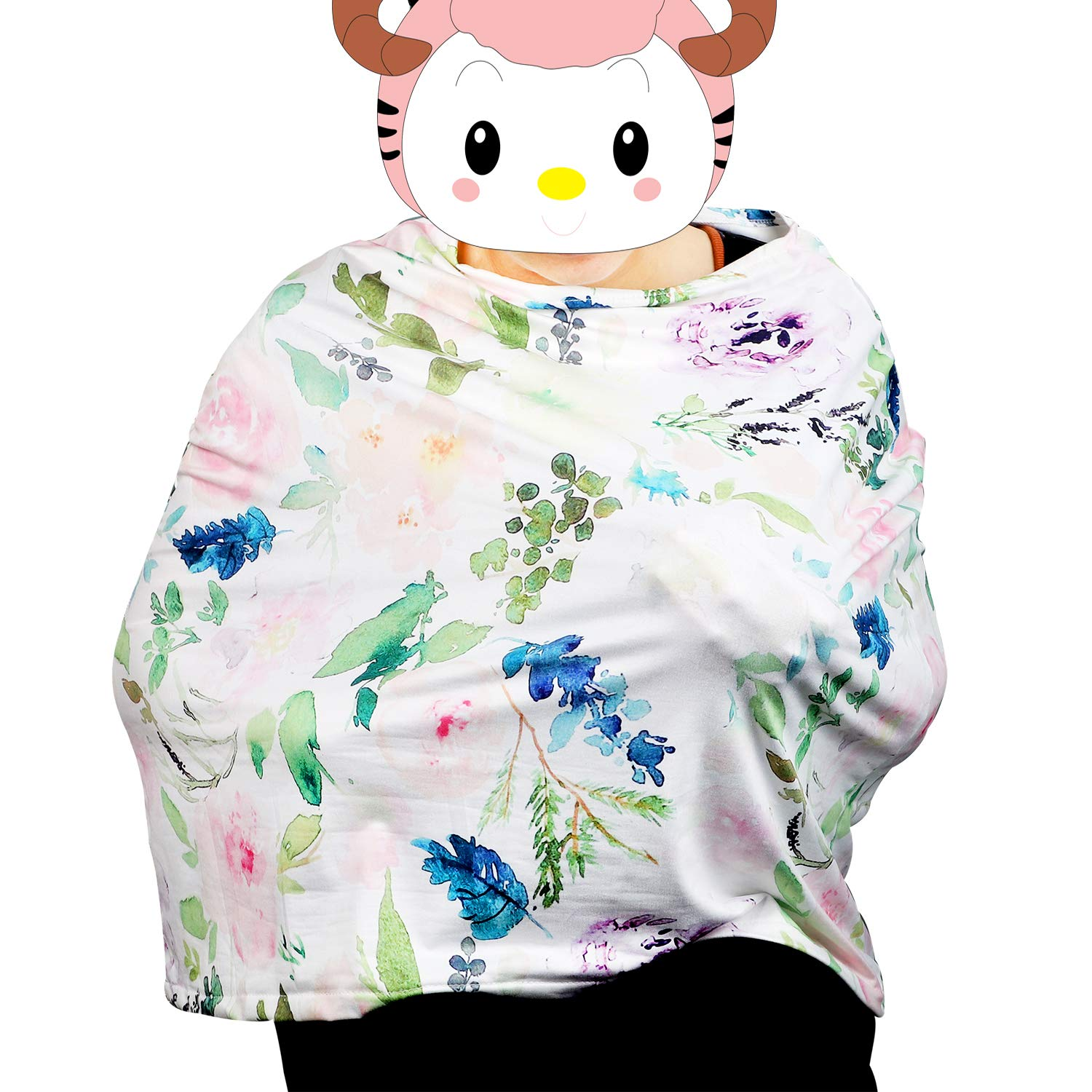Nursing Cover Scarf for Breastfeeding Breathable Cotton Mums Breastfeeding Apron Shawl Newborn Baby Swaddle Blanket Baby Car Seat Cover Floral White Blue Flyish Breastfeeding Cover