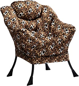 HollyHOME Modern Velvet Fabric Lazy Chair, Accent Contemporary Lounge Chair, Single Steel Frame Leisure Sofa Chair with Armrests and A Side Pocket, Thick Padded Back, Leopard Print