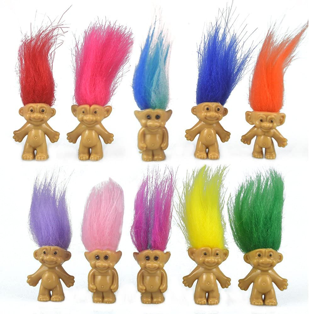 """10PCS Mini Troll Dolls, PVC Vintage Trolls Lucky Doll Mini Action Figures 1.2"""" Cake Toppers Chromatic Adorable Cute Little Guys Collection, School Project, Arts Crafts, Party Favors"""