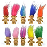 "10PCS Mini Troll Dolls, PVC Vintage Trolls Lucky Doll Mini Action Figures 1.2"" Cake Toppers Chromatic Adorable Cute…"