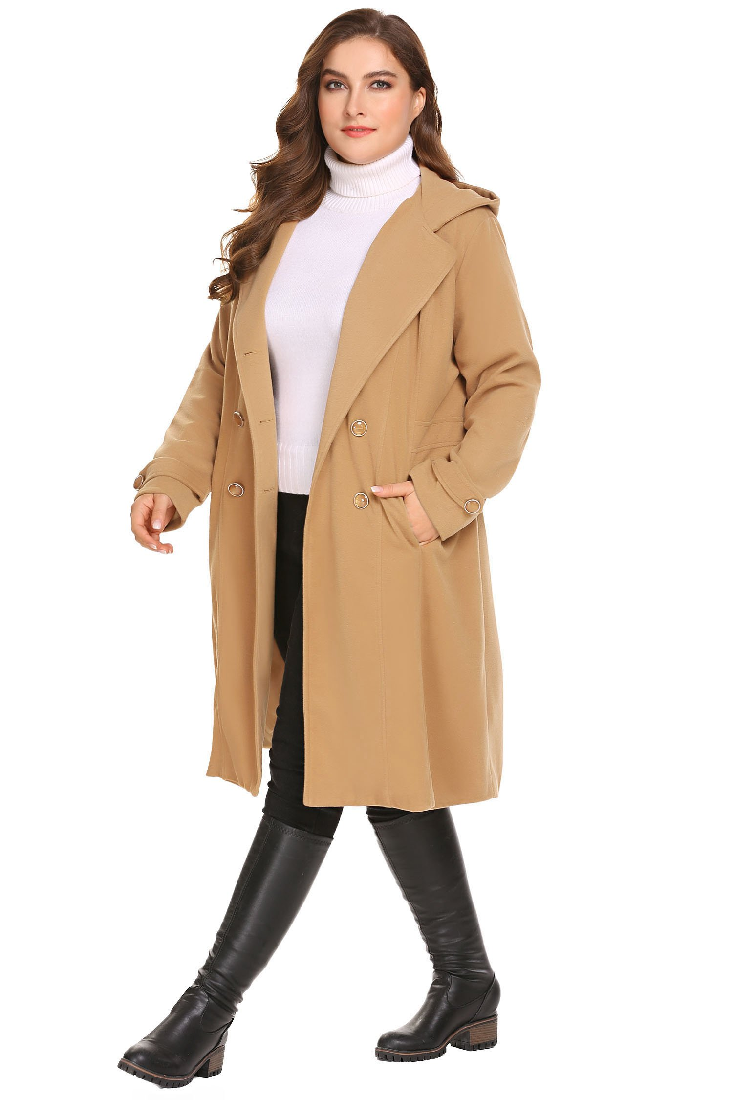 Zeagoo Women Plus Size Double Breasted Wool Elegant Long Lined Lightweight Trench Coat (16W-24W) by Zeagoo (Image #3)