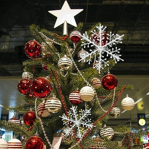 Argento Deggodech 12PCS Glitter Fiocco di Neve Natale 10cm Plastica Fiocchi di Neve Decorativi Albero di Natale Sospeso Ornamenti Decorazioni Natalizie