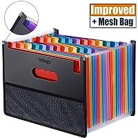 Expanding Accordion File Folder 24 Pockets, Trimagic Filing Box with Unique Mesh Bag Design, Alphabetical Expandable File Organizer for Document Paperwork Tax Bill or Receipt