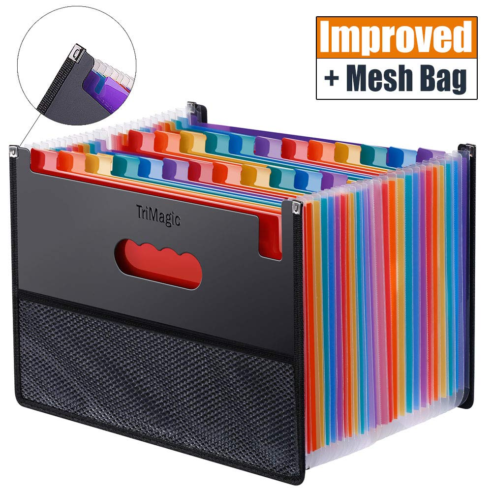 Expanding Accordion File Folder 24 Pockets, Trimagic Filing Box with Unique Mesh Bag Design, Alphabetical Expandable File Organizer for Document Paperwork Tax Bill or Receipt by TriMagic
