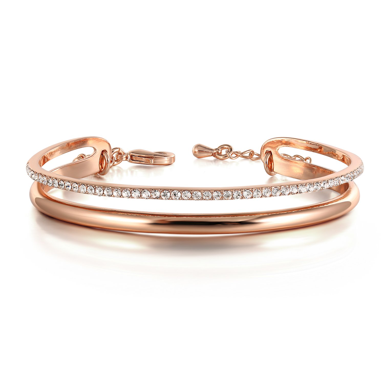 Thehorae Rose Gold Plated Bangle Bracelet Women Swarovski Crystals Wedding Birthday Gift Jewellery Box Included 90500371305B