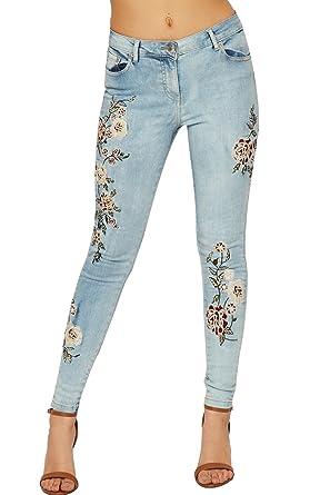 WearAll Damen Niedrig Steigen Denim Jeans Damen Blumen Stickerei Dünn Fit  Schaltfläche Tasche - Blau - de061d9c26