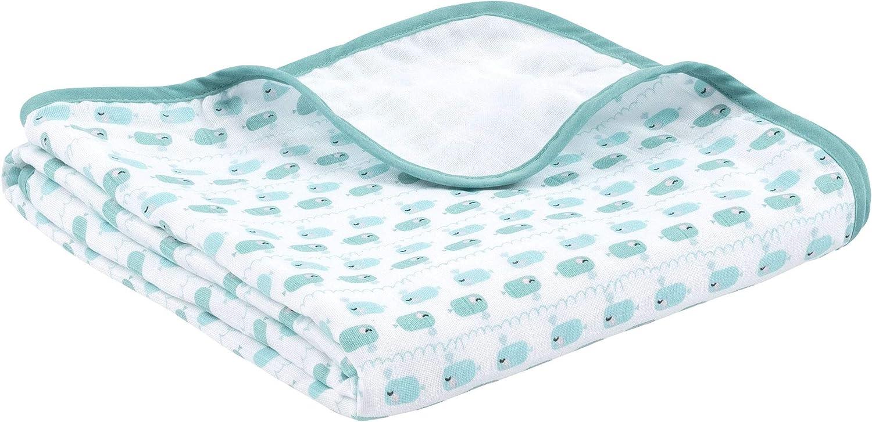 La manta para bebés de emma & noah es extra suave y acolchada, 100% algodón, tamaño 120 x 120 cm, 4 capas, motivo: ballena, perfecta como dou dou, arrullo, manta para el cochecito