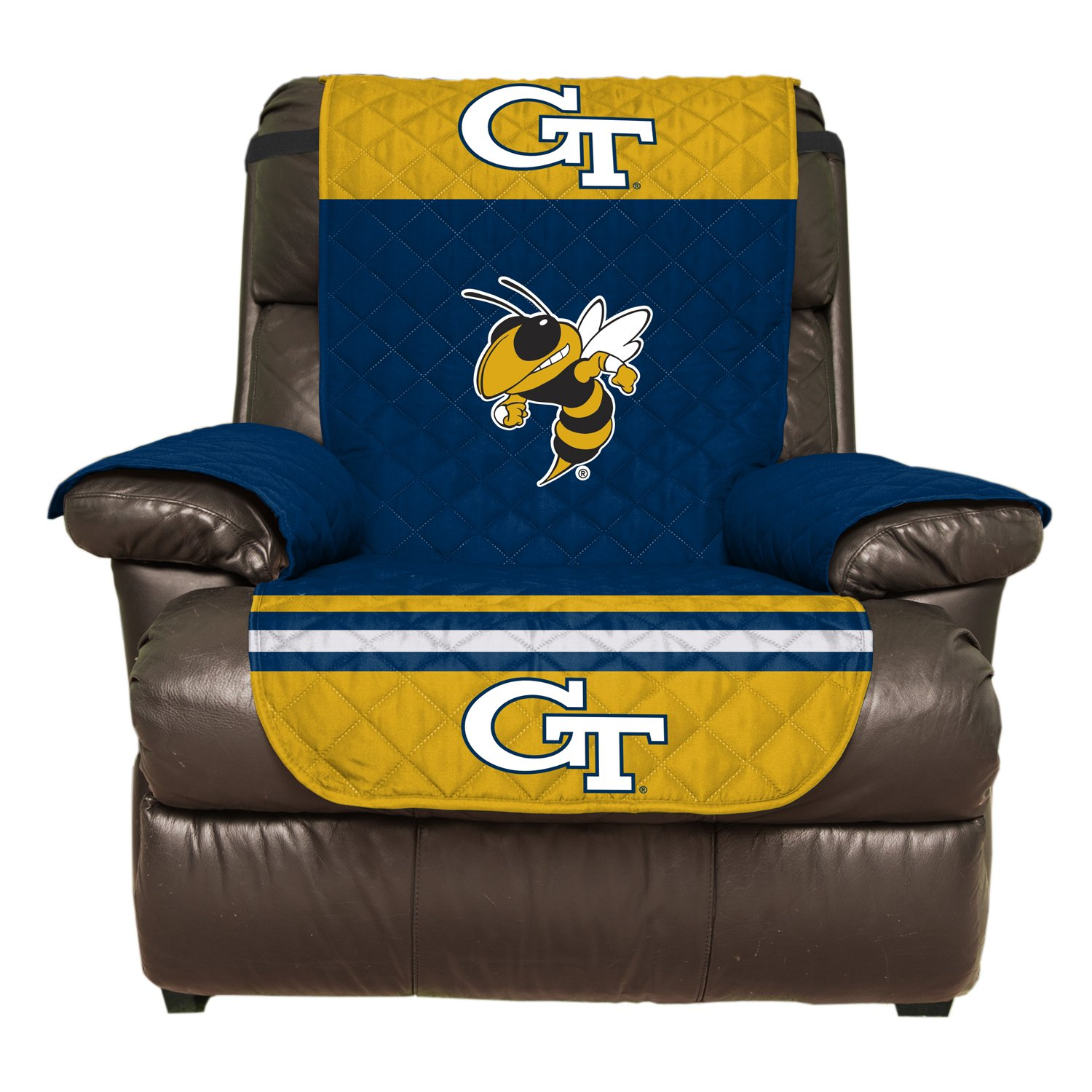 Reversible Couch Cover - College Team Sofa Slipcover Set / Furniture Protector - NCAA Officially Licensed (Recliner, Georgia Tech Yellow Jackets)