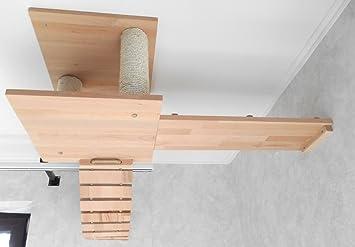 Jennys Tiershop - Árbol rascador para gatos, montaje en techo, hecho a mano Montaje en techo, 3 piezas.: Amazon.es: Productos para mascotas
