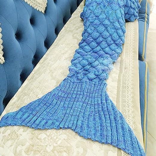 Handgemachte Gestrickte Meerjungfrau Decke Gehäkelt Fish Scale