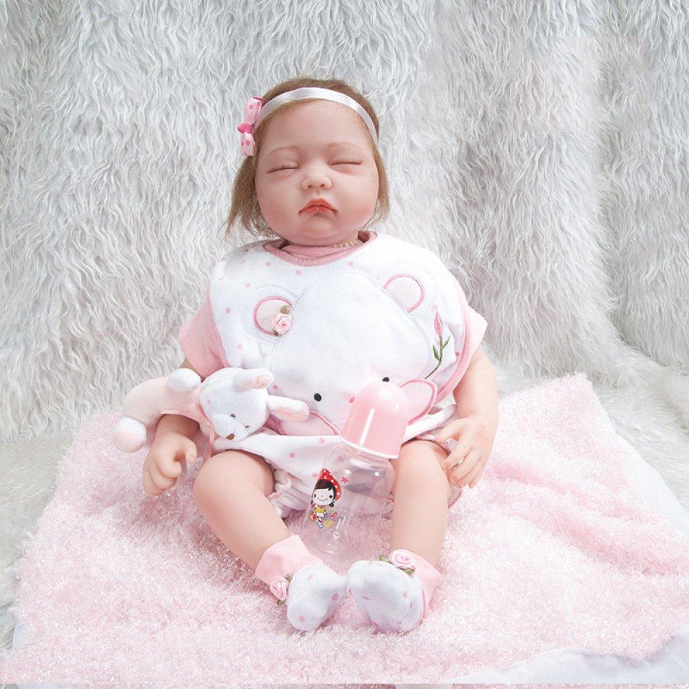 55cm QXMEI Simulation Baby 55cm Reborn Baby Kind Spielzeug Silikon Puppe Mädchen,55cm