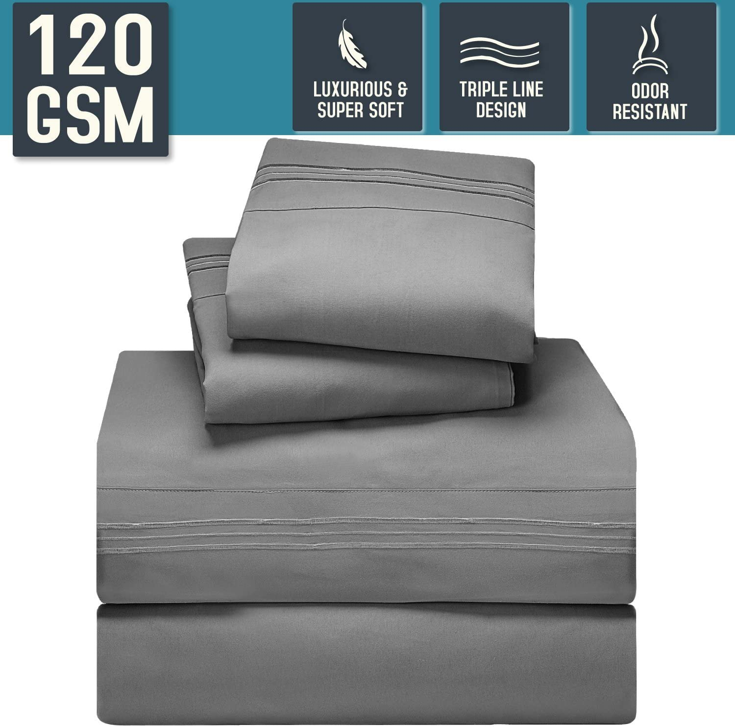 Nestl Bedding Bed Sheet Set, Queen Size, Gray, Super Soft 120 GSM - Anti Odor Treatment - Corner Elastic Strap for a Snug Fit, Matching 3 Line Embroidery on Pillowcases and Flat Sheet