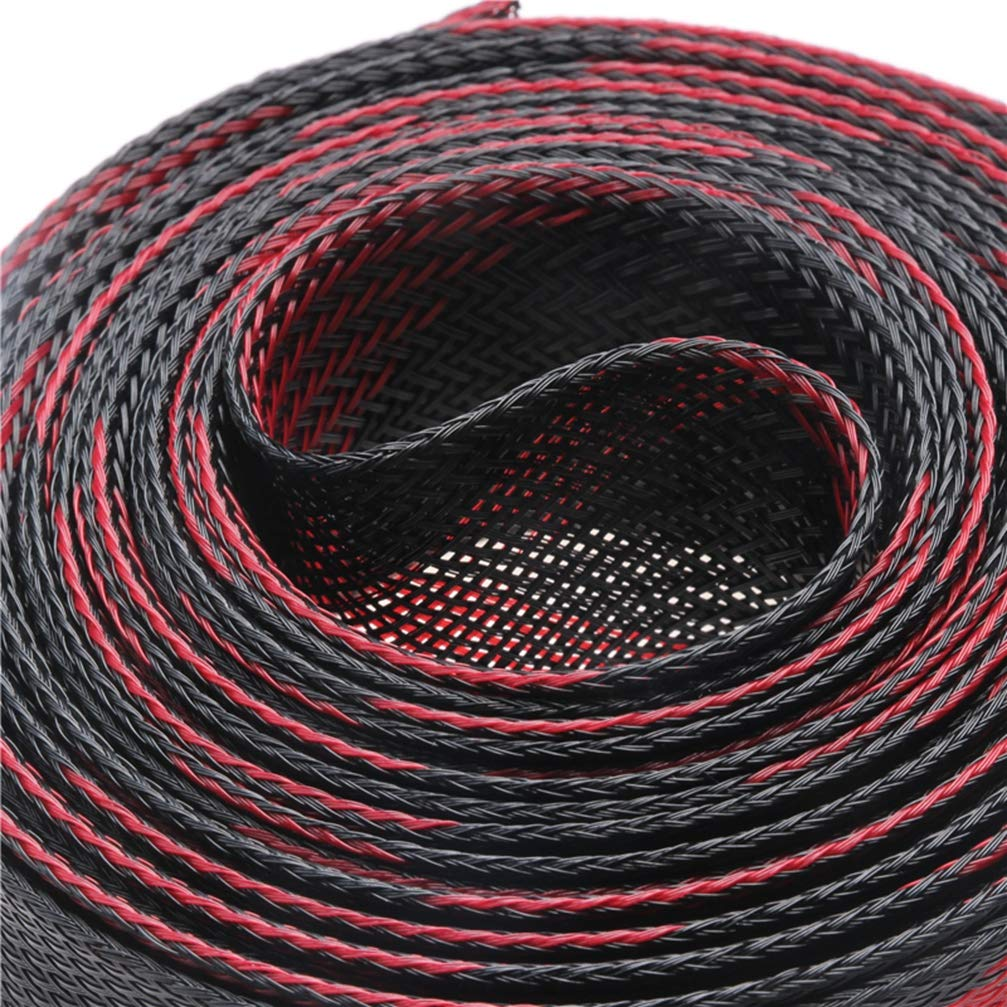 5M Black Red Insulation Braided Sleeving Tight PET Expandable Cable Sleeve 2/4/6/8/10/12/15/20/25mm Wire Gland Cable Protection by MEIZOKEN (Image #3)