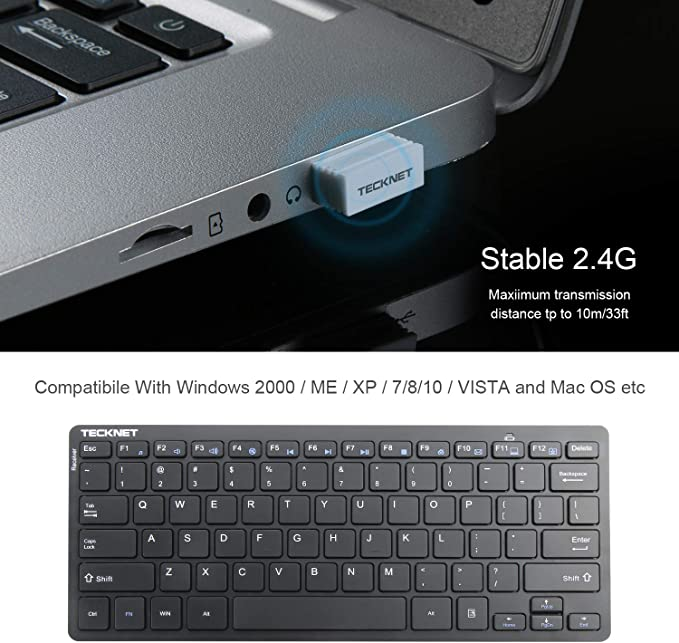 Laptop Wireless Keyboard Desktop Smart TV Notebook Windows XP//Vista // 7//8 // 10 TeckNet 2.4GHz Ultra Slim Portable Compact Size Whisper-Quite Small Wireless Keyboard for PC