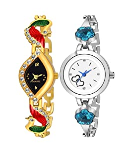 VeBNoR Combo of 2 Stylish Bracelet Watches for Girls and Women - 301-329
