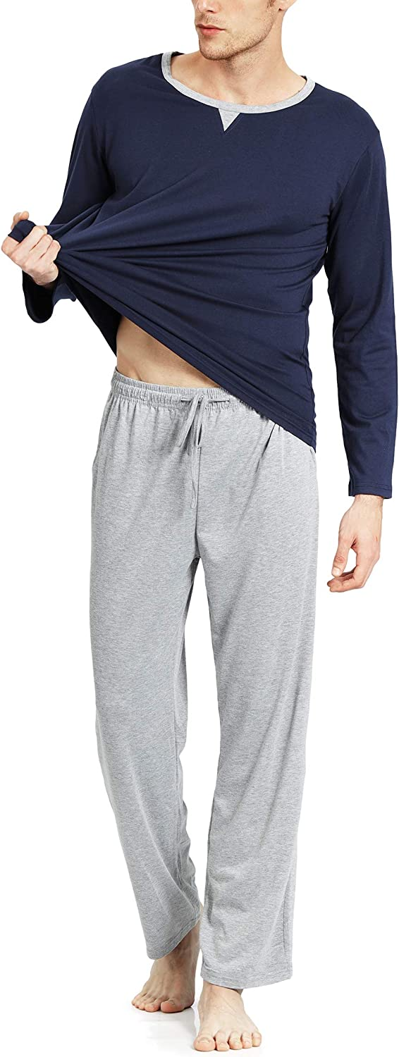 YIMANIE Mens Pajamas Set Soft Cotton Long Sleeves and Pajamas Pants Classic Sleepwear Lounge Set