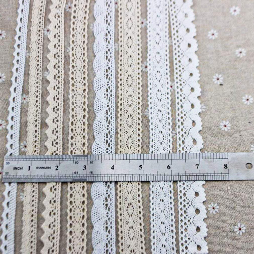 IDONGCAI White Lace Trim Fabric Lace Cotton for Wedding Party Craft Gift Packing Handmade Patchwork Scrapbook DIY Apparel Sewing Accessories 30 Yards 5 Yards Each