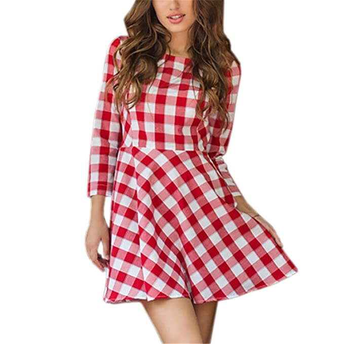 Henraly Blue Red Plaid Summer Kawaii Women Dress Fit Flare Mini Sexy Sundress Party Vestido LX319 at Amazon Womens Clothing store: