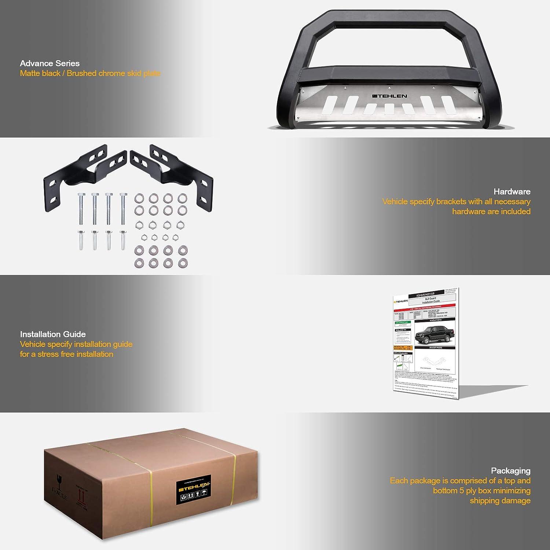 Stehlen 733469493693 Advance Series Bull Bar Matte Black//Brush Aluminum Skid Plate For 2015-2019 Chevy Colorado//GMC Canyon
