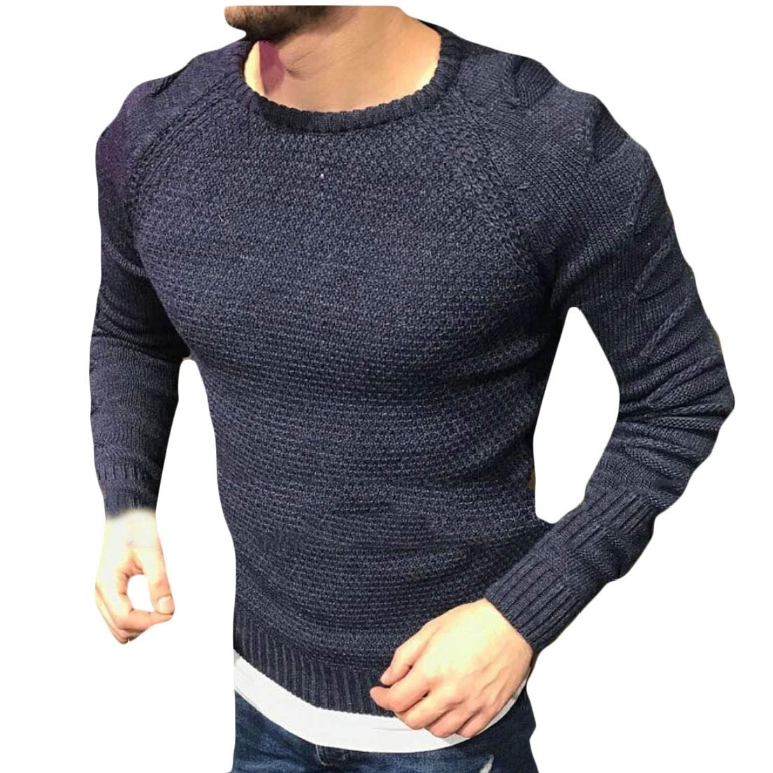 Generic Mens Round Neck Knitwear Solid Knitting Distressed Stylish Pullover Sweaters