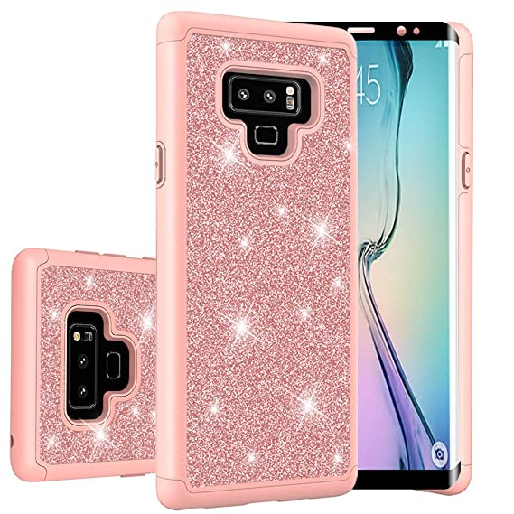 super popular 738d7 b6d31 Galaxy Note 9 Case Tempered Glass Screen Protector Thinkart Glitter Shiny  Hybrid Protective Armor for Samsung Galaxy Note 9 Case (Rose Gold)