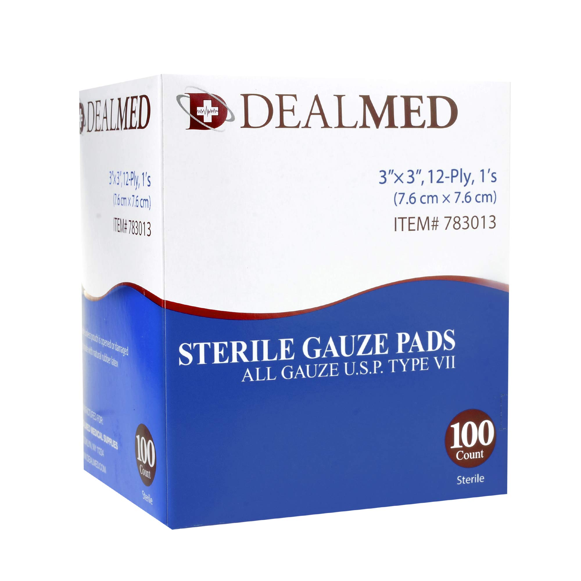 Dealmed Sterile Gauze Pads Individually Wrapped Absorbent 3 X