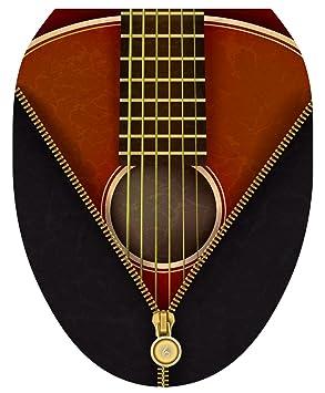 Para inodoro tatuajes, tapa de inodoro adhesivo, - Guitarra clásica, tamaño Elongated: Amazon.es: Bricolaje y herramientas