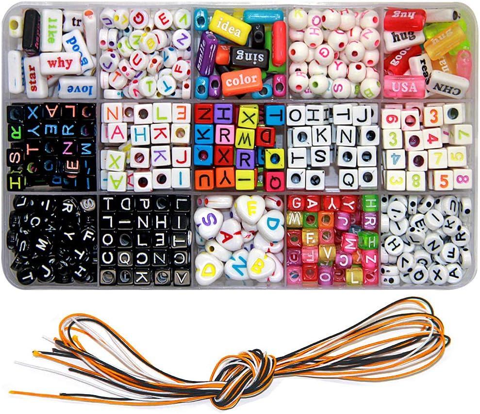 Ewparts DIY Letter Beads Bracelet, Acrylic Alphabet Letter Beads para Hacer Joyas, Pulseras, Collares, llaveros y Kit de fabricación de Joyas