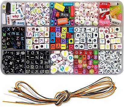 Ewparts Kinder Diy Armband Buchstaben Perlen Acryl Alphabet Buchstaben Perlen Für Schmuck Machen Armbänder Halsketten Schlüsselanhänger Und Kinder