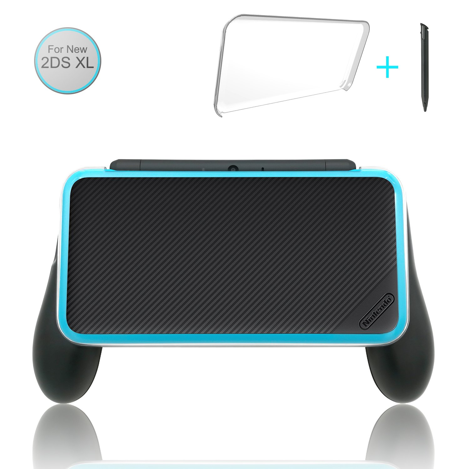 FastSnail Comfort Grip Kit for your NEW Nintendo 2DS XL, 3 in 1 Accessories Kit for 2DS XL (Hand Grip + Crystal Cover + Stylus)