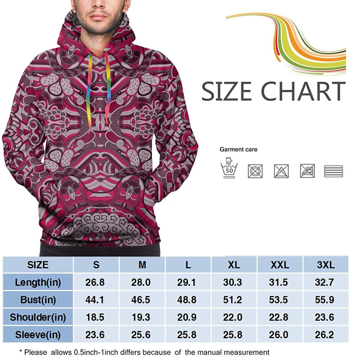 Ethnic Colorful Doodle Texture Mens Casual Lightweight Hoodies Pullover Hooded Top Winter Sweatshirt