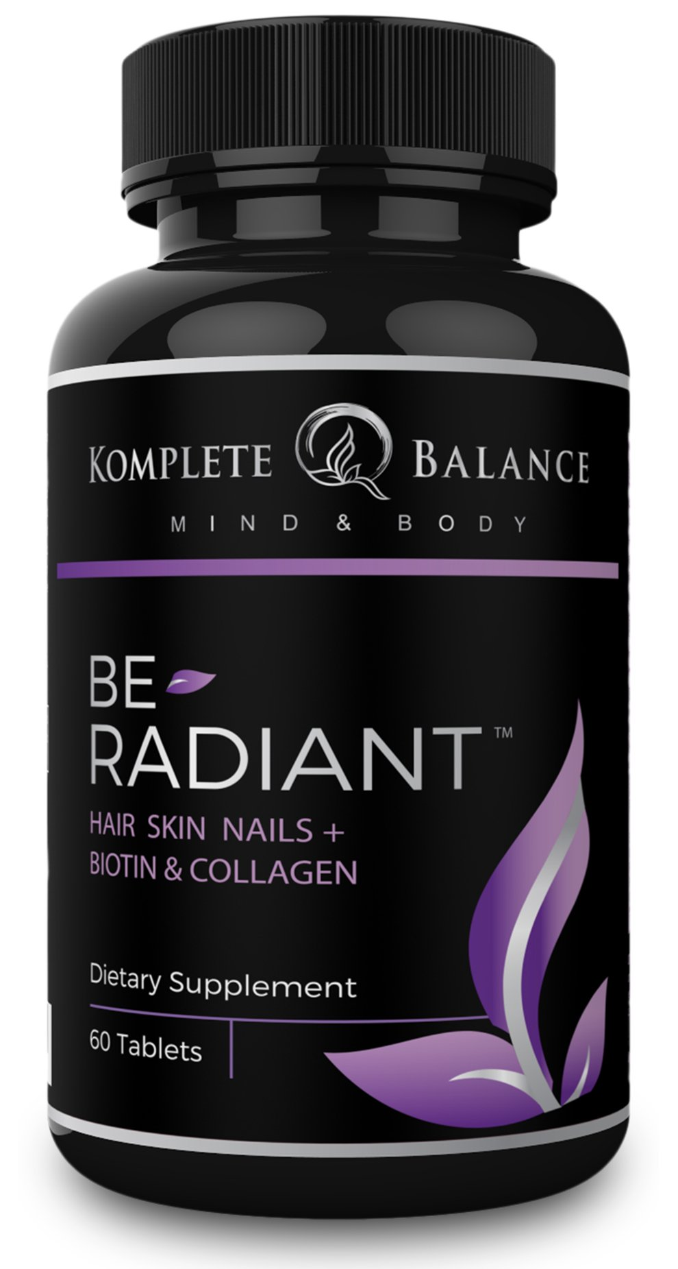 BeRadiant - Hair Skin & Nails Vitamins - Biotin 5000 mcg For Hair Growth & Stronger Nails - Collagen, Antioxidants & Powerful Herbs For Healthy Skin - DHT Blocker Helps Stop Hair Loss - All Hair Types