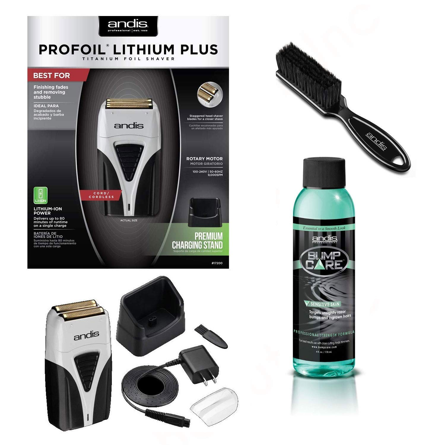 Andis 17200 Profoil Lithium Plus Shaver Brush, Sensitive Bump Care for ingrown hairs