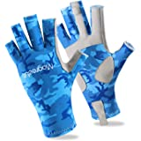 Magreel UV Protection Fishing Gloves for Men Women, UPF50+ Sun Protection Fingerless Gloves Breathable Gloves for Sailing, Cy