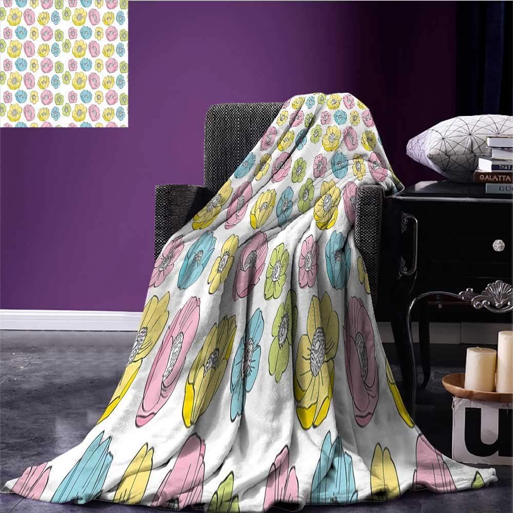 sunsunshine Anemone Flower Digital Printing Blanket Colorful Seasonal Field Pattern Graphic Girls Kids Theme Oversized Travel Throw Cover Blanket Light Blue Light Pink Yellow Bed or Couch 70'x50'