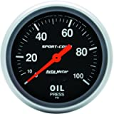 Auto Meter 3421 Sport-Comp Mechanical Oil Pressure Gauge Regular, 2-5/8' (66.7mm)