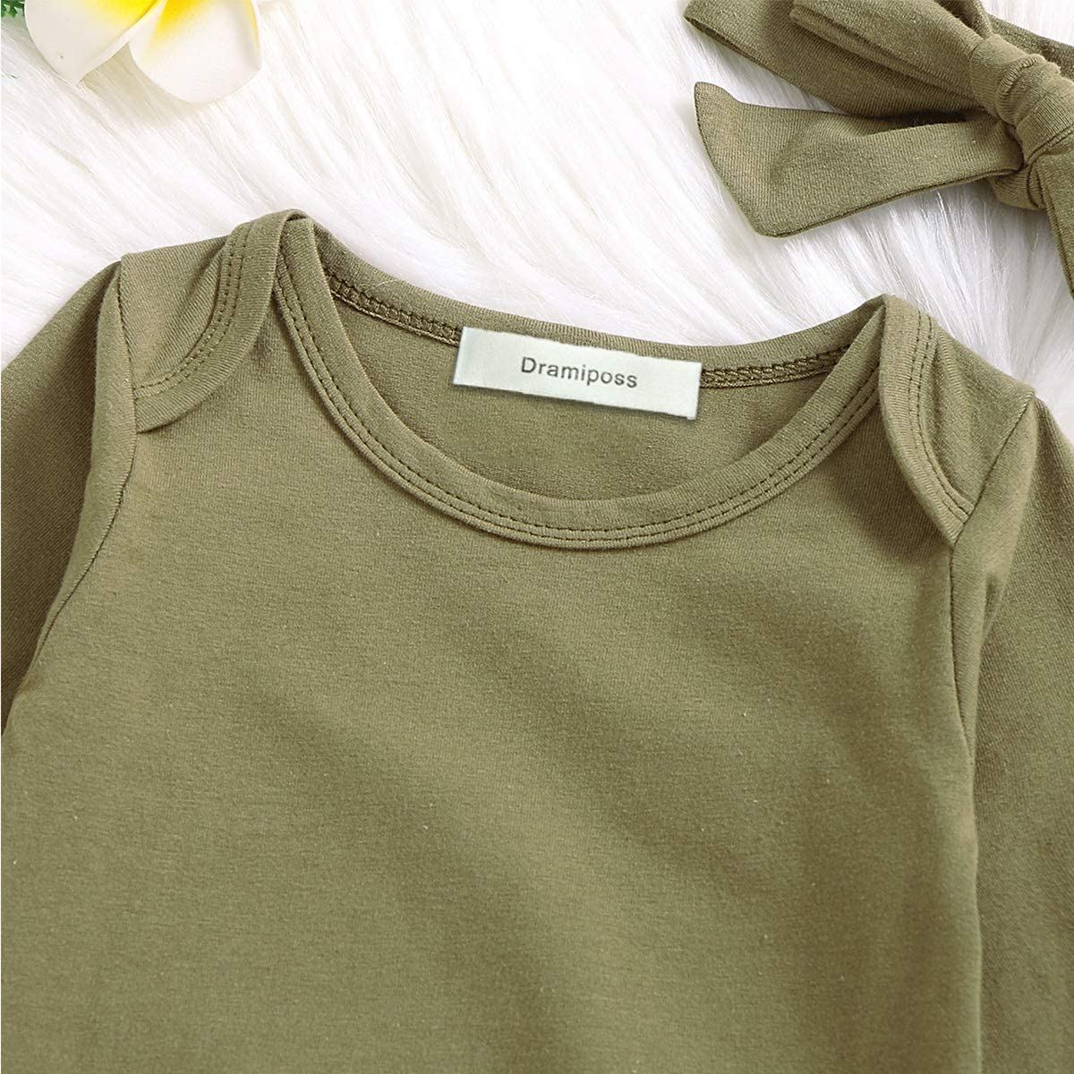 Dramiposs Newborn Boys Girls Solid Color Nightgowns Infant Long Sleeve Outfit Funny Sleeper (Olive, 0-3 Months): Clothing