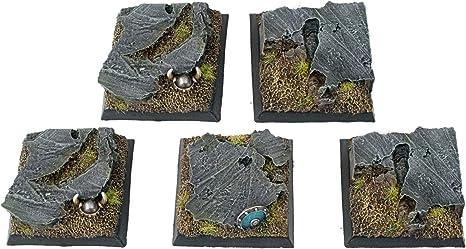 War World Gaming Fantasy Battlefield - Peanas Cuadradas de Rocas x 5 (40mm) - 28mm Wargaming Diorama Miniaturas Batalla Medieval Edad Media Maqueta Wargame: Amazon.es: Juguetes y juegos