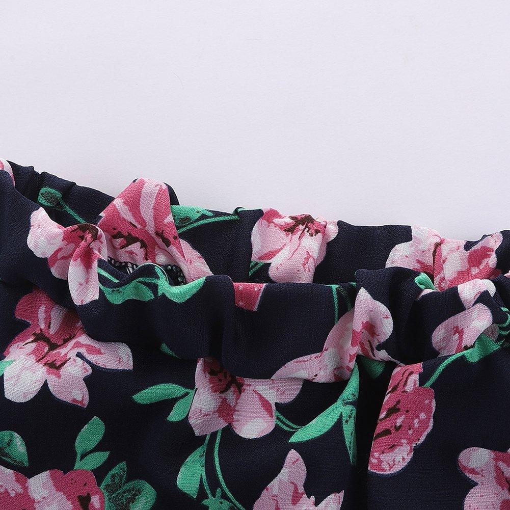Motecity Girls' Skirt Set Flower Love Size 5 White-Navy by Motecity (Image #6)