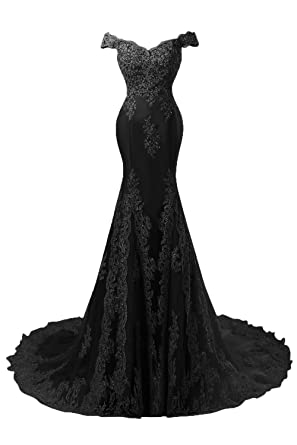 LiCheng Bridal Off Shoulder Lace Crystal Mermaid Evening Prom Dresses Black US2